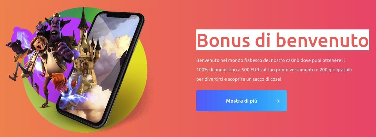 cadoola bonus casino 100% fino a 500 euro + 200 freespins