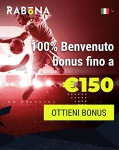 rabona bonus del 100% fino 150 euro